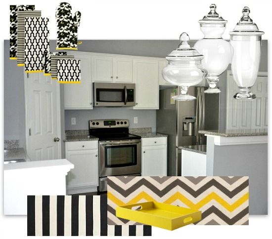 Modern Contemporary Kitchen Decor Mood Board Black White Yellow
