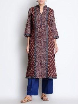 Maroon Ajrakh Printed Mandarin Collar Cotton Kurta