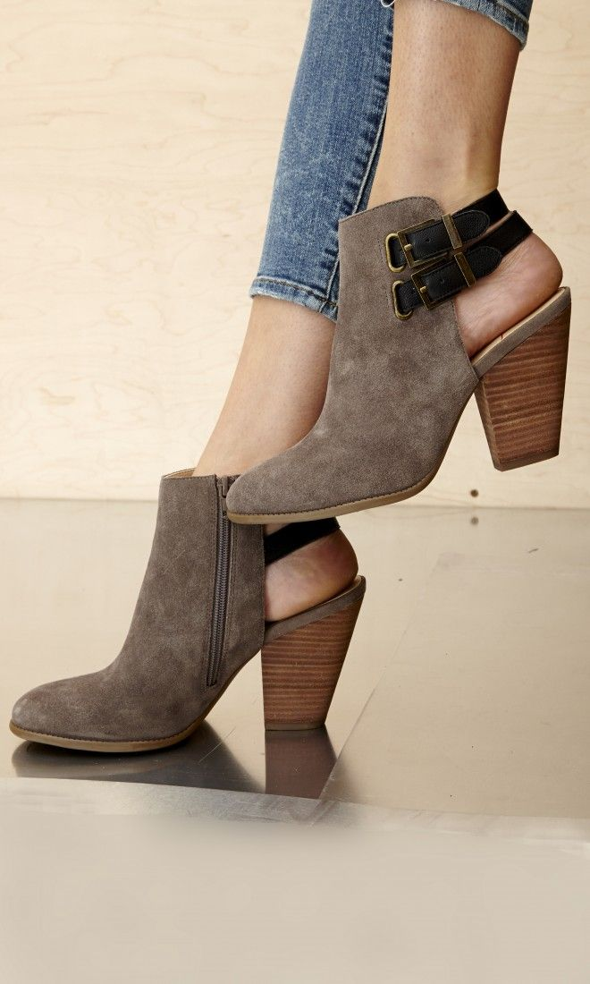 Genuine suede bootie with a stacked heel, a slingback buckle and an easy side zipper.