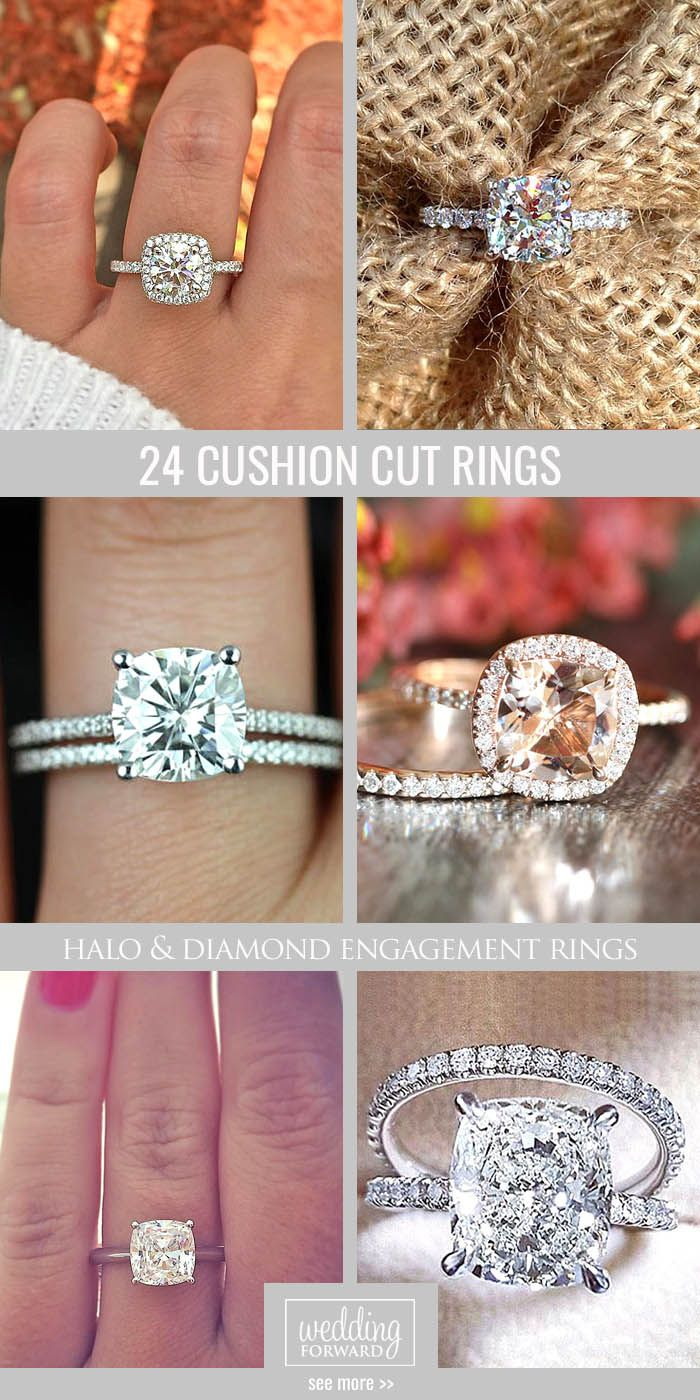 24 Brilliant Cushion Cut Engagement Rings ❤ Cushion cut engagement ring will…