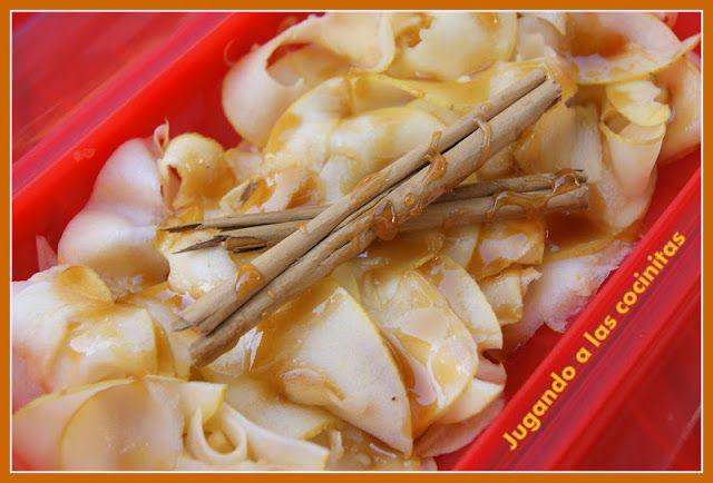 JUGANDO A LAS COCINITAS: Postre de manzana y yoghourt con miel y canela