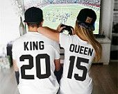"What is your number? Custom Couple T-shirts set ""King and Queen"" T-shirts King Queen Tshirt Custom Shirts with Custom Numbers"