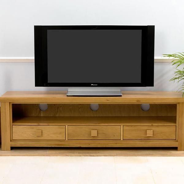 Barcelona Solid Oak TV Unit (Size 2/3 Drawers, Colours Oak/Dark Oak)