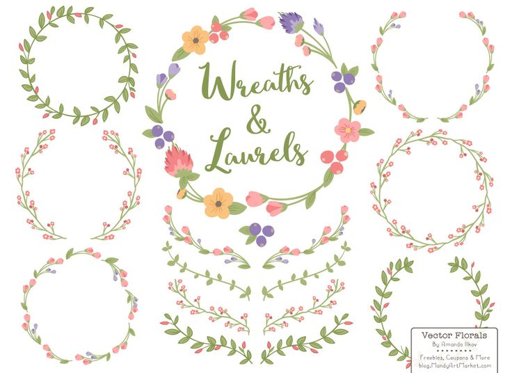 New August Freebie! Free Floral Wreath Clipart & Vectors