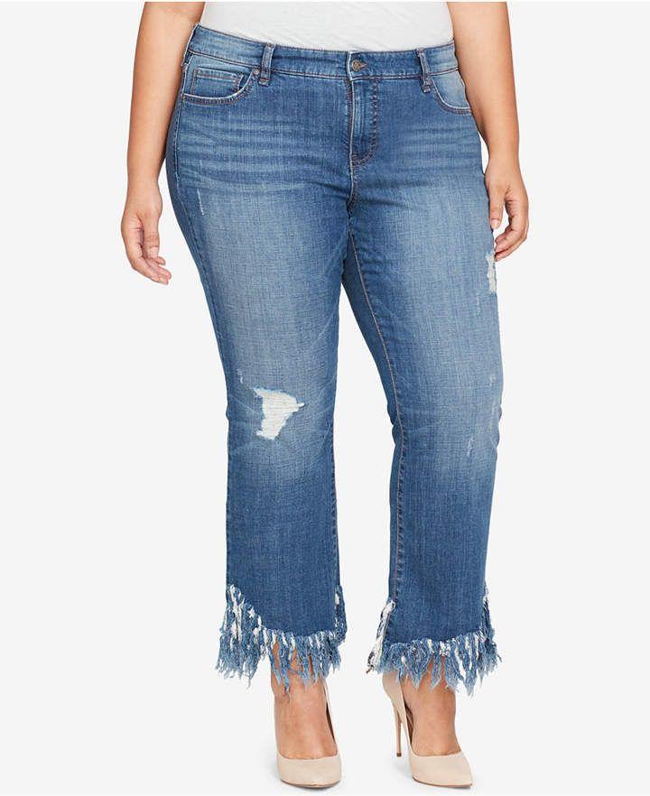 1b11573017ad4 William Rast Trendy Plus Size Frayed-Hem Kick-Flare Jeans - Plus Size  Fashion