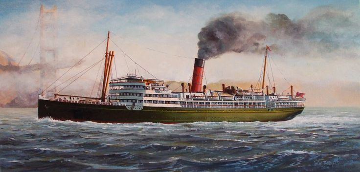 SS Makura built by Alexander Stephen & Sons, Linthouse, Glasgow for Union Steam Ship Company in 1908. 8,075GRT, 4,921NWT, length 450ft, beam 57.7ft, draught 32.1ft. twin screw powered by 2 x 4 cylinder triple expansion steam engines to give 17.5Kn on trials & 16Kn service speed. 216 1st class, 166 2nd class & 124 3rd class passengers. Employed mainly on Sydney - San fransisco & Vancouver routes with calls at Auckland, Suva & Honolulu. Sold to Chinese ship breakers in 1936