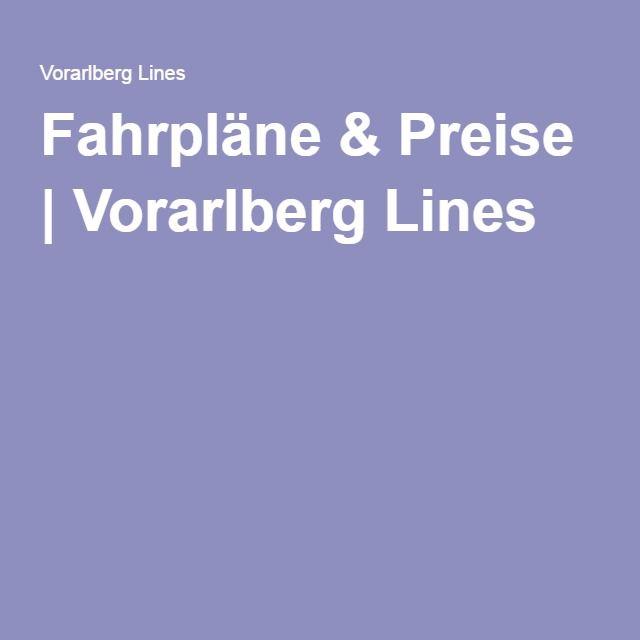Fahrpläne & Preise | Vorarlberg Lines