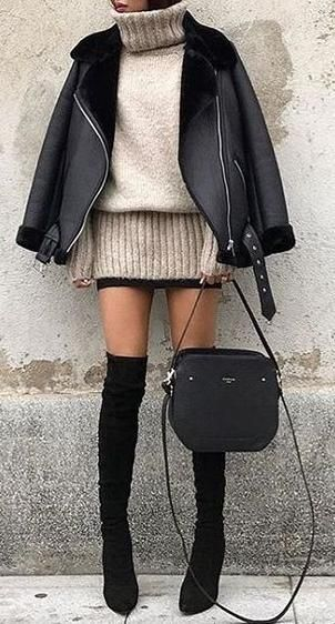 fall winter street style. over the knee boots.