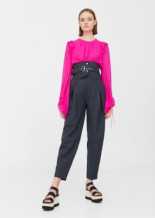 Linnen broek met brede tailleband -  Dames | MANGO Nederland €70