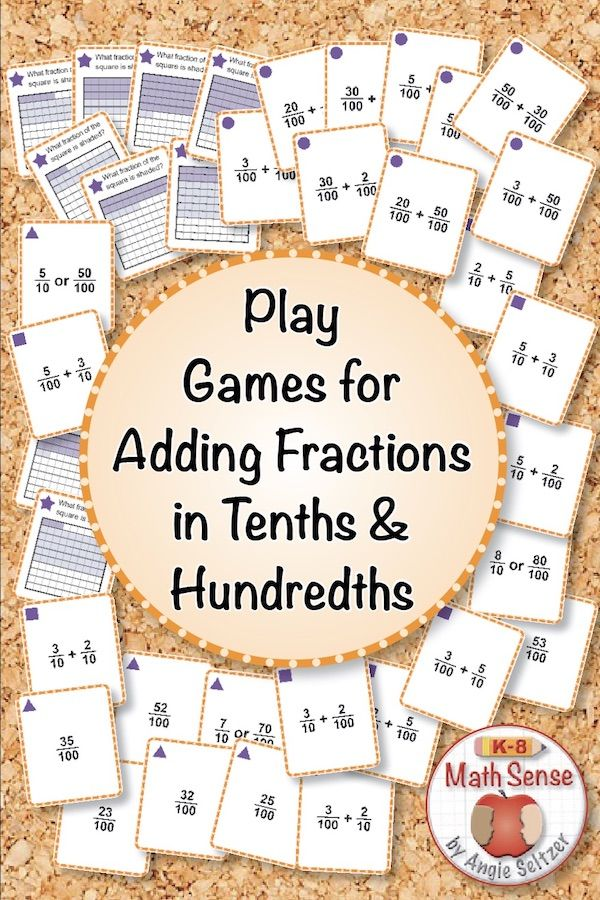 Adding Tenths And Hundredths Games Provide Fun Practice With Adding Fractions In Tenths And Hundredths I Elementary Math Games Math Card Games Fraction Games Add tenths and hundredths worksheets