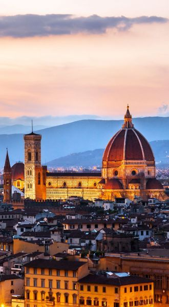 Cathedral of Santa Maria del Fiore (Duomo) at dusk, Florence, Italy | 15 Most Colorful Shots of Italy