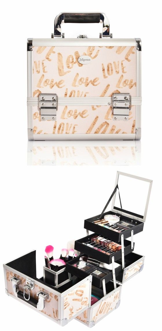 Beige Love Print Professional Makeup Train Case with Brush Holder--Joligrace Travel makeup case with mirror Artis makeup case Makeup vanity with storage Makeup organizer with mirror Best makeup case Big makeup case Cheap makeup organizer Cosmetic train case Makeup case with brush holder Makeup organizer with drawers Makeup case with lock Makeup artist train case Portable makeup case