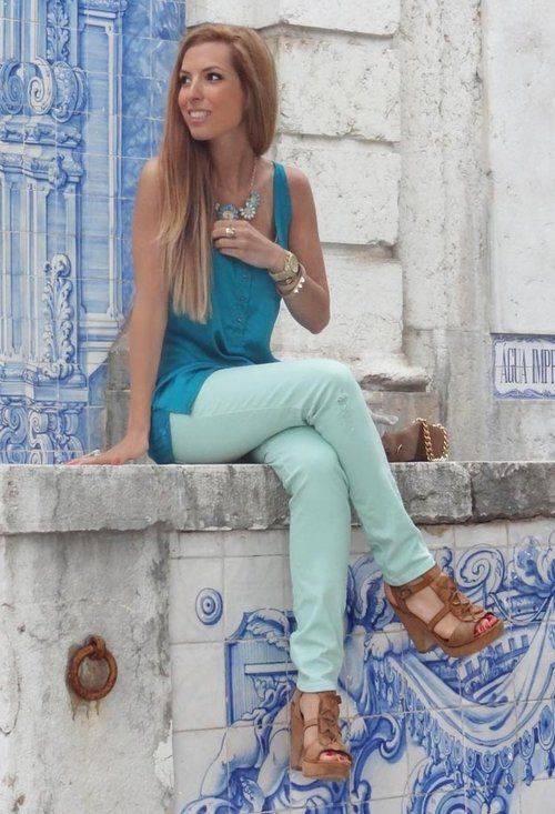 Blue  , Zara in Pants, Pull & Bear in Shirt / Blouses, Aldo in Jewelry, Massimo Dutti in JewelryMint Pants, Blue Blouses Pants, Blue Outfit, Fashion, Mint Skinny Jeans, Mint Shirts, Shirts Blouses, Springsummer Style, Dreams Closets