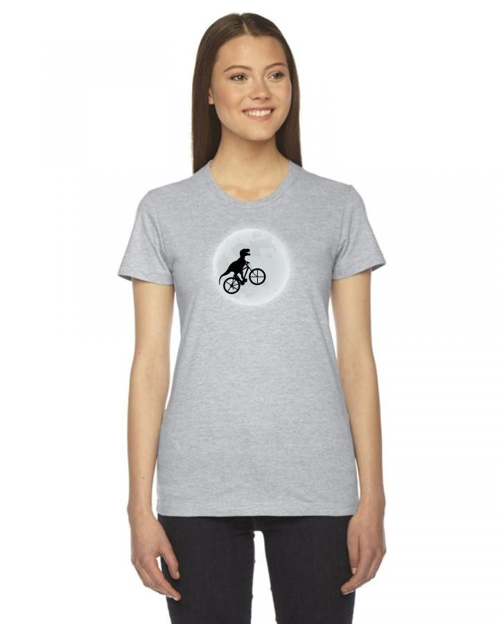 dinosaur riding a bike to the moon Ladies Fitted T-Shirt