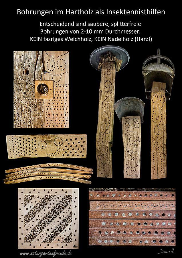 Nisthilfe insect nisting aid Insektenhotel insect hotel Wildbienen wild bee Bohrungen im Hartholz Hardwood to drill holes