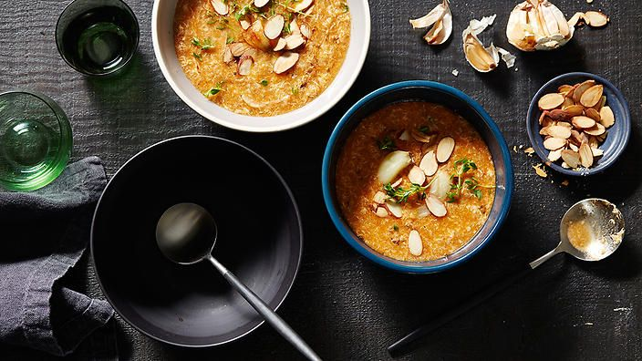 Born from humble origins, this classic Spanish soup known as sopa de ajo (roast garlic and bread) can be pulled together with minimal fuss and mostly from pantry staples.