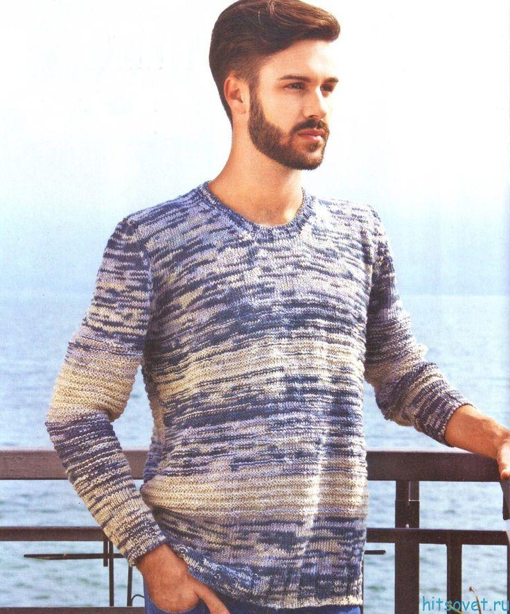 Мужской свитер спицами из меланжевой пряжи