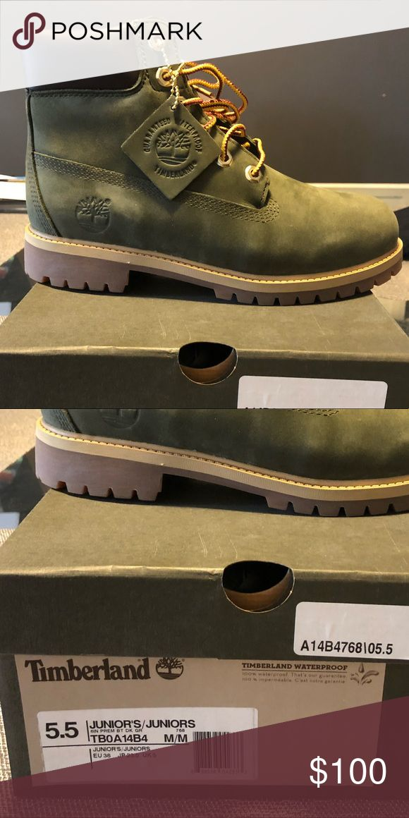 Olive green Timberland boots as 5.5 Brand new never been worn. Olive green w gum bottoms. Timberland Shoes Winter & Rain Boots