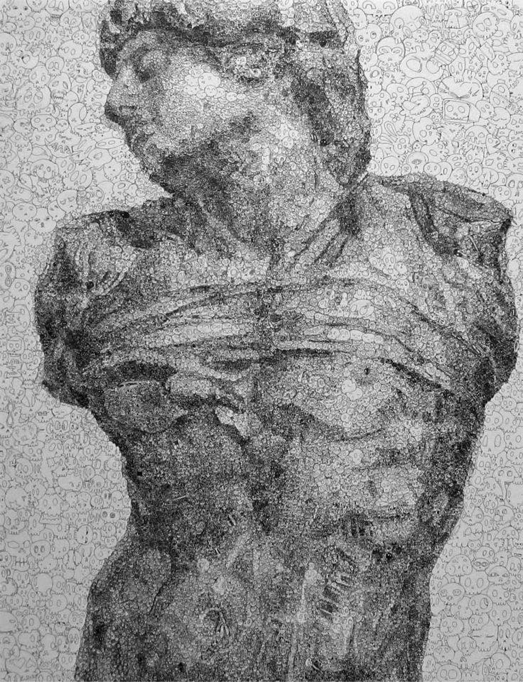 Sagaki Keita, 美大に行きたい [奴隷 半身像] (pen on charcoal paper)