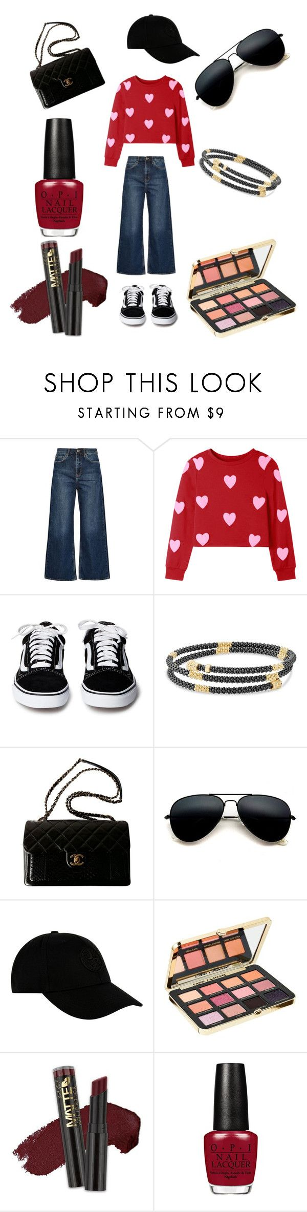 """wide - jeans look💗💖"" by sugerplum0727 ❤ liked on Polyvore featuring M.i.h Jeans, Lagos, Chanel, STONE ISLAND, Too Faced Cosmetics, L.A. Girl, denimtrend and widelegjeans"