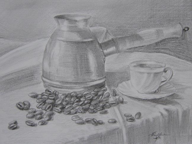 Martwa natura z kawą. Rysunek ołówkiem