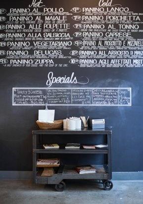 chalkboard wall at café-salon
