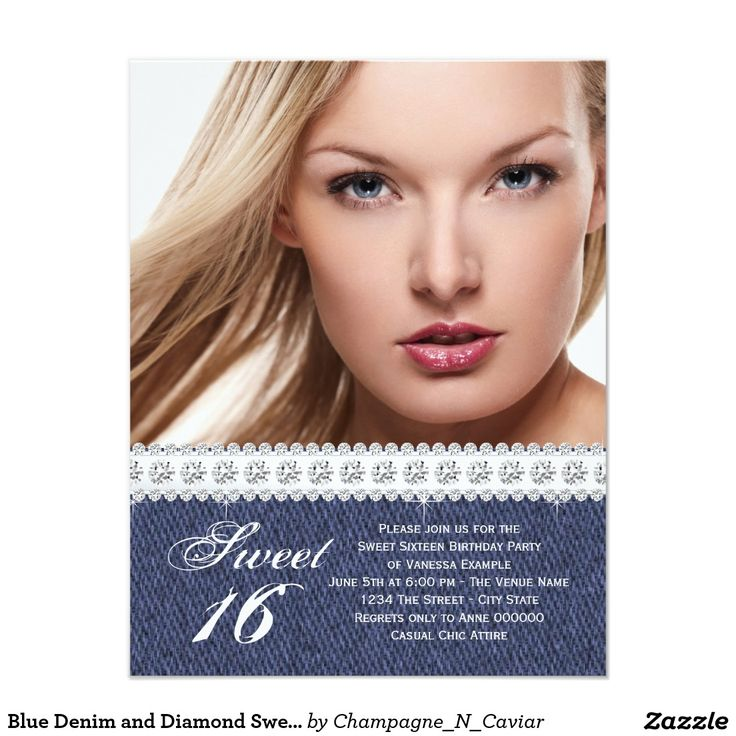 "Blue Denim and Diamond Sweet Sixteen Party 4.25"" X 5.5"" Invitation Card"