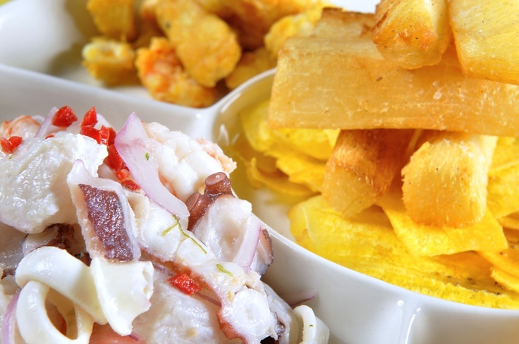 Ceviche as part of a mixed seafood platter.
