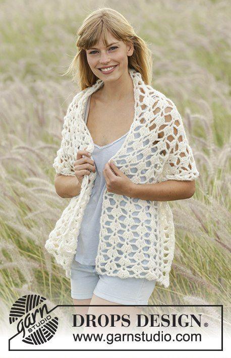 Drops Extra Pattern 0-1266, Crochet stole with fan pattern in Air ...
