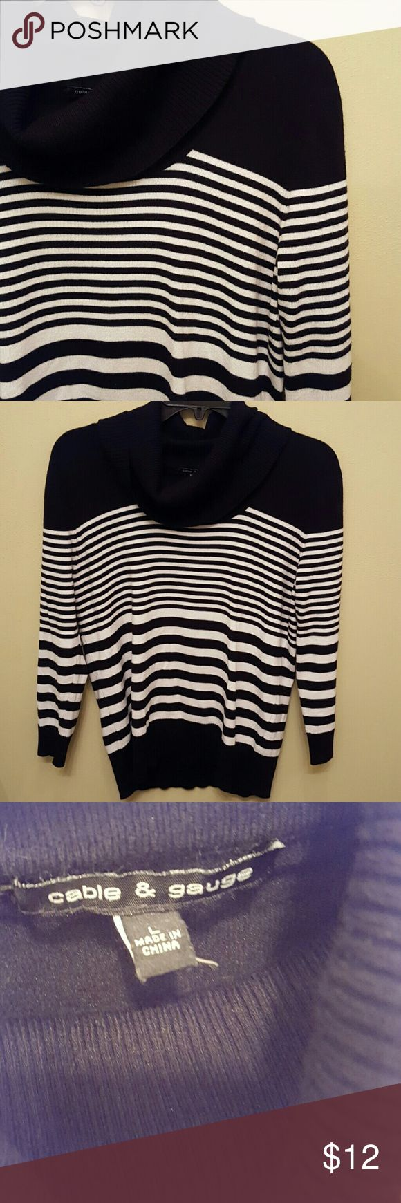 Cable & Gauge Black And White Striped Top Slouchy neck, excellent condition! No stains, no odor, no pulls, no holes! Size Large. Cable & Gauge Tops