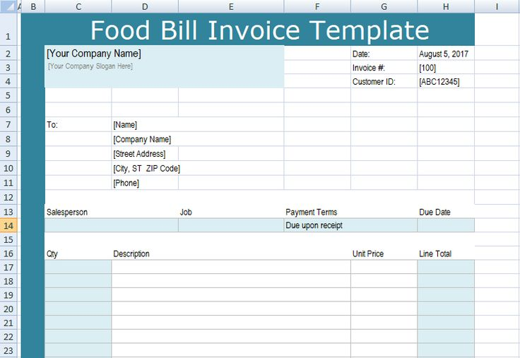 Get food bill invoice template xls invoice template
