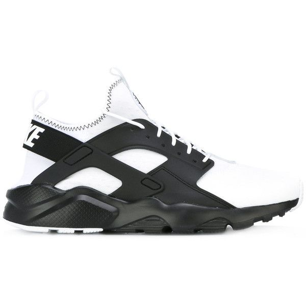 Nike Air Huarache Run Ultra SE sneakers ($133) ❤ liked on Polyvore featuring men's fashion, men's shoes, men's sneakers, black, mens lace up shoes, nike mens sneakers, nike mens shoes, mens black sneakers and mens black shoes