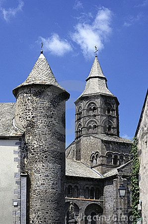 Typical Roman style church of Orcival, important shrine in Auvergne, France.