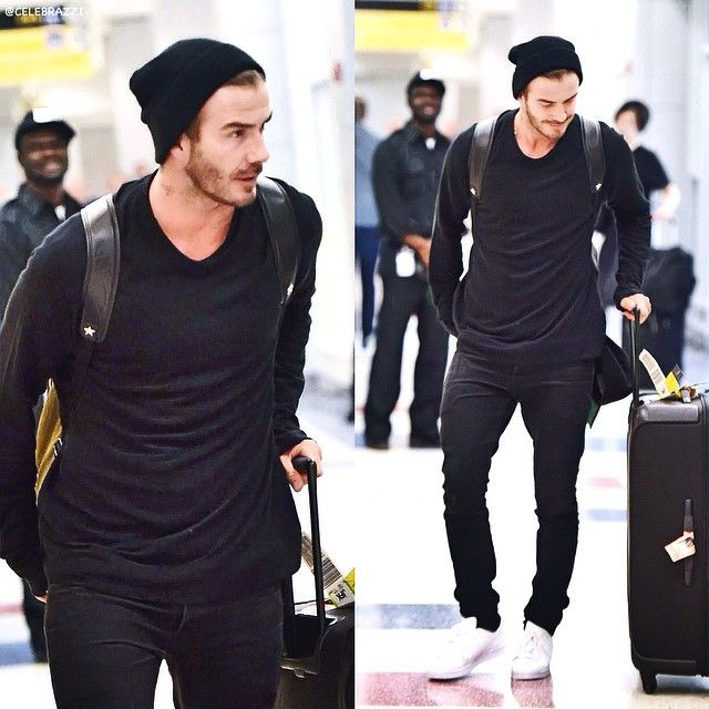 #DavidBeckham rocks a #beanie as he arriving at #JFK airport in #NewYorkCity.