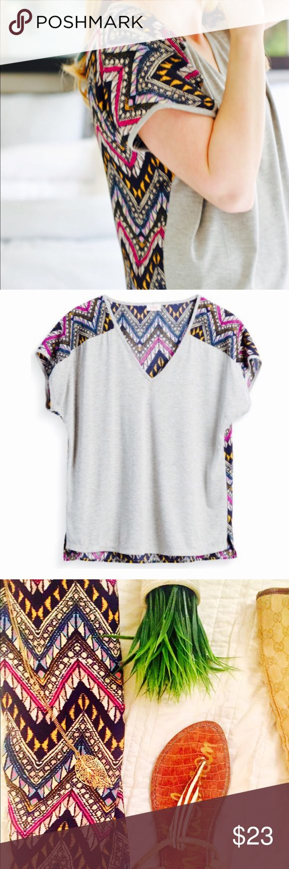 Pixely Aztec Blouse | M Multi print + gray | M | New with Tags | Pixely | V-neck | Bundle 2+ items + save 15% Pixley Tops Tees - Short Sleeve
