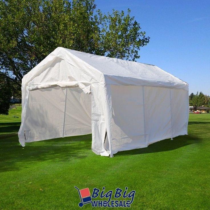 10'x20' White Heavy Duty Portable Garage Carport Car Shelter Outdoor Canopy Tent #Bigbigwholesale    $143
