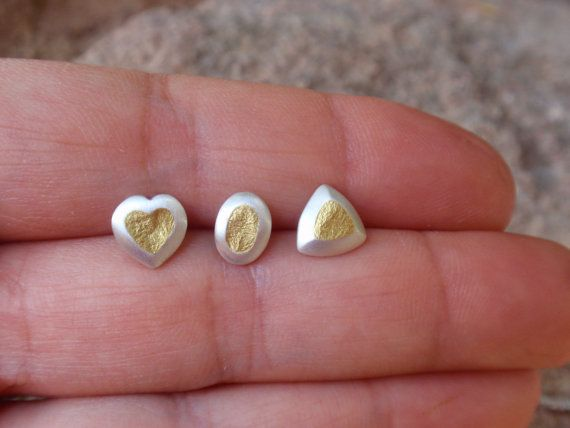 geometric stud earrings gold studs triangle oval by preciousjd