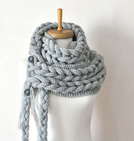 NO PATTERN: Gray scarf -  Grey wool infinity scarf , cable knit huge scarf