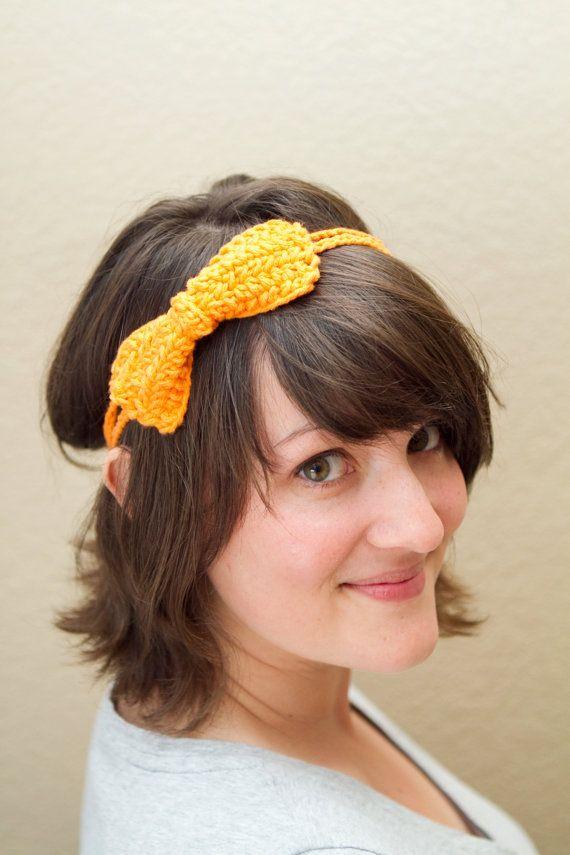 Crochet Neon Orange Bow Headband Cotton Double by UnfadingLouise, $9.00