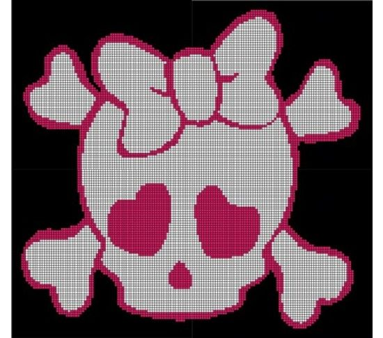 Crochet Pattern Excel : Pink Girl Skull Crochet Pattern Afghan Graph, USD5.00 ...