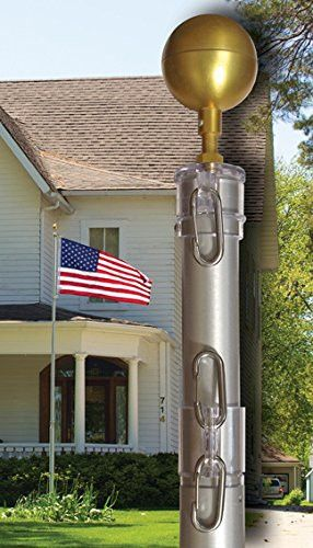 Vintage Aluminum Clear Anodized Telescoping Flagpoles For Outdoors