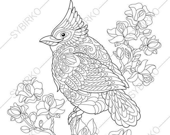 Coloring Page For Adults Digital Coloring Page Owl Etsy Animal Coloring Pages Bird Coloring Pages Coloring Pages