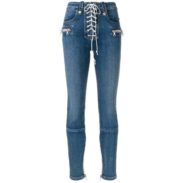 Unravel Light Blue Lace Front Skinny Jeans ($855) ❤ liked on Polyvore featuring jeans, light blue, lace up skinny jeans, skinny leg jeans, lace up front jeans, blue jeans and cut skinny jeans