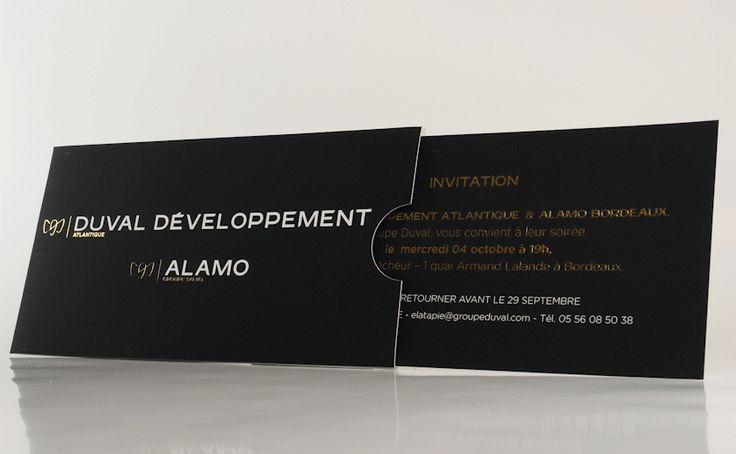 Invitation et sa pochette sur Couché Satiné 300gr avec pelliculage Mat et Vernis 3D + Foil Or Brillant #jetvarnish #Foil