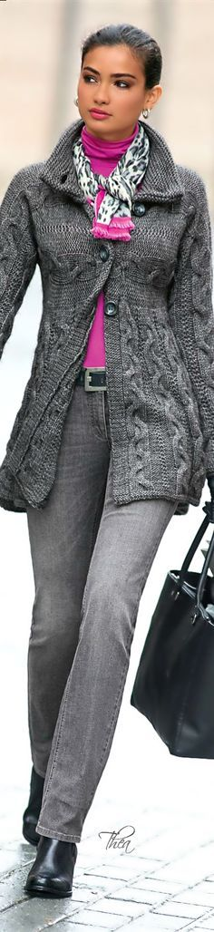 Here's a perfect way to wear gray (or any color that no longer suits you). I totally love the way the pink draws attention to your face & your middle (without showing much). Personally, I would ditch the belt and untuck the turtleneck... more suitable to my shape.