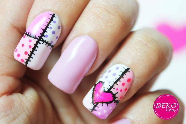 Decoracion de uñas corazon / Heart patchwork nail art tutorial