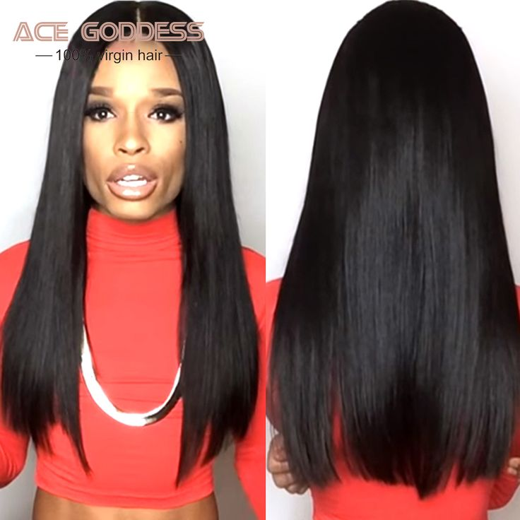 "ACE GODDESS Brazilian Full Lace Wigs For Black Women 8""-30"" Lace Front Wig Cheap 8A Glueless Full Lace Human Hair Wigs Straight"
