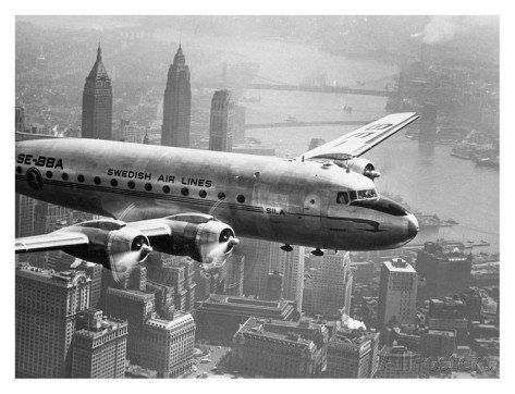 Swedish Airlines Flying over City 1946 Vintage Aviation Photography Black And White Photo Art Print WIth Stretched Canvas Option