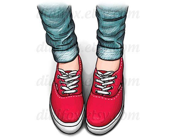 Red blue brown vans shoes  jeans  Printable Digital от DidiFox, $5.00