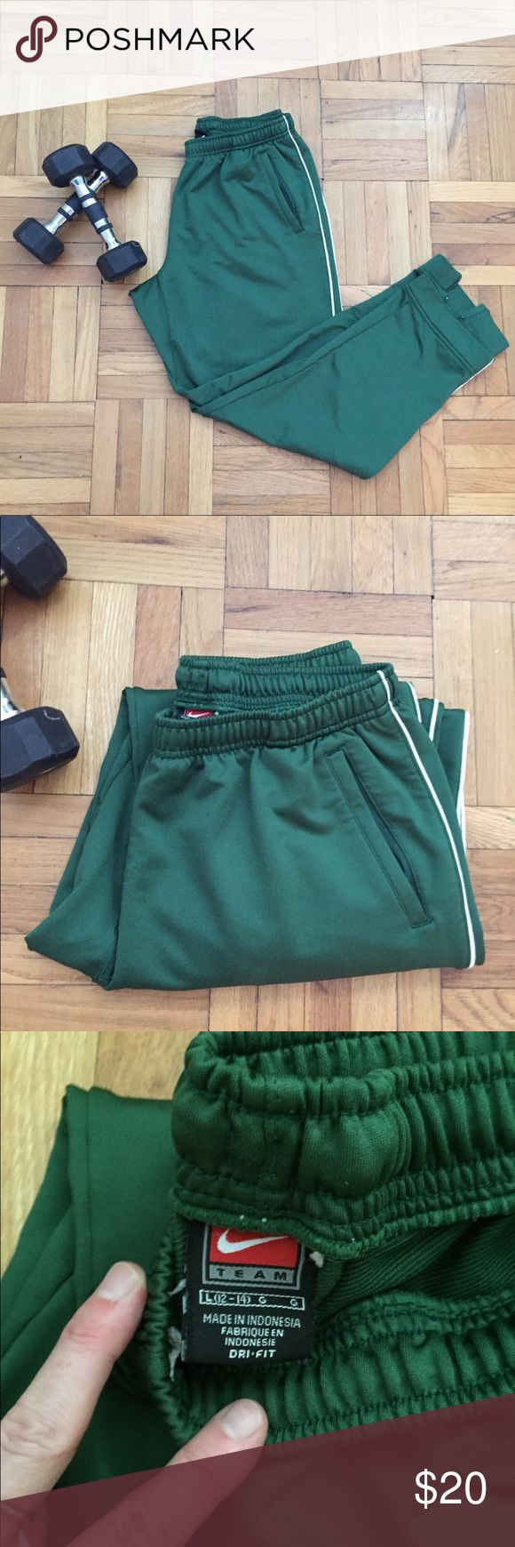 Nike warm-up pants Nike warm-up pants in forest green with a thin white stripe down the outer leg. Nike check embroidered on bottom of left leg. Ankle zippers for ease of taking off with athletic shoes on. Drawstring waist. Inseam is 29 inches. Great quality, like new. Perfect to wear over athletic shorts while you warm up before a work out or game. Size large. Nike Pants Track Pants & Joggers